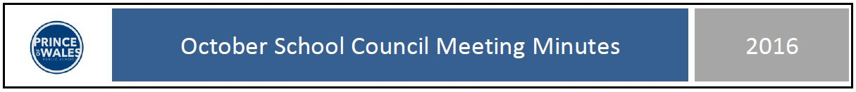 October 2016 School Council minutes