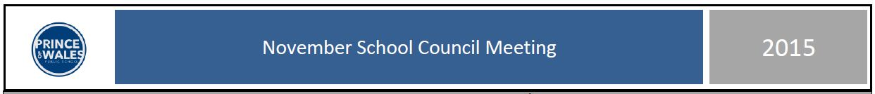 November 2015 School Council Meeting minutes