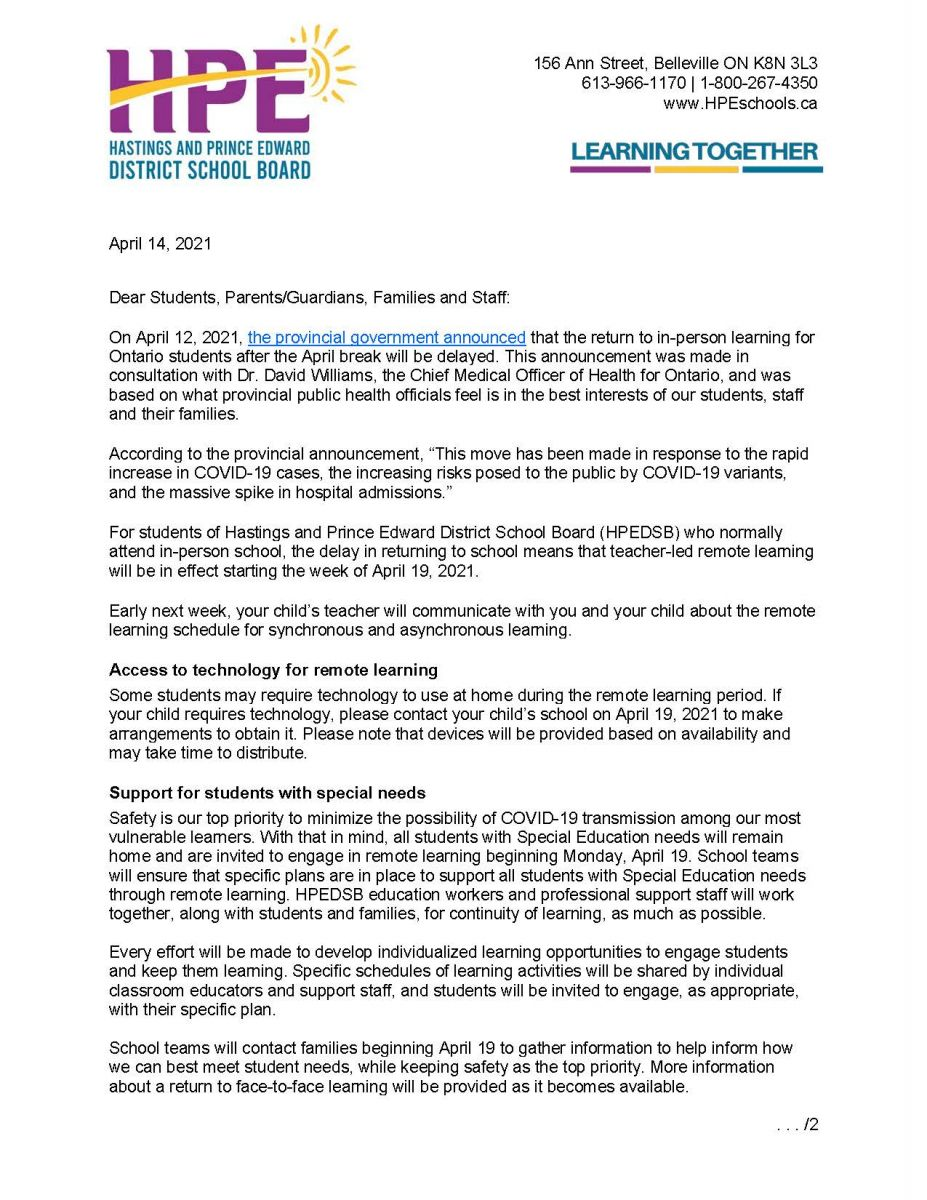 April 14 Remote Learning Letter